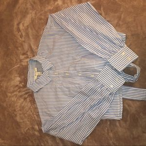 Girly Blue striped crop top button up tie in back